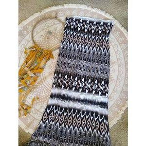 Anthro Cynthia Rowley | neutral print maxi skirt